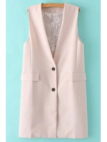 Solid Color Lace Spliced Collarless Waistcoat