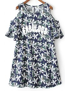 Sweet Printed Round Neck Short Sleeve Cold Shoulder Dress - Purplish Blue L