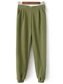 Solid Color Jogger Pants - Army Green S