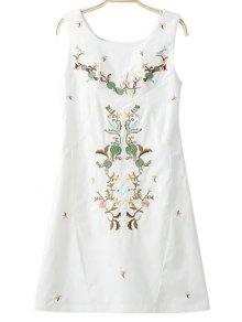 Embroidery Round Collar Sleeveless Dress