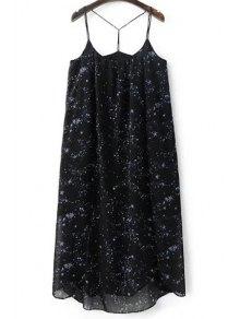High Slit Spaghetti Straps Star Print Dress