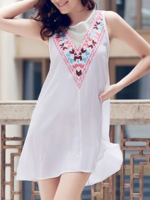 Fashionable Jewel Neck Sleeveless Embroidered A-Line Dress For Women - White S