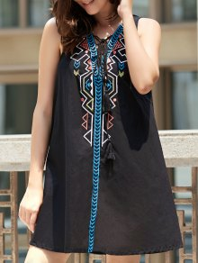 Sleeveless Geometric Pendant Casual Classy Dress - Black L