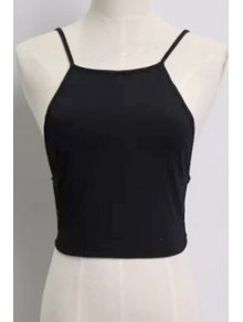 Solid Color Backless Spaghetti Straps Tank Top - Black