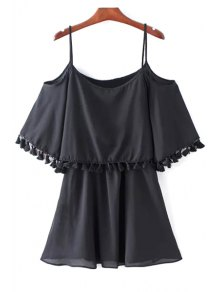 Tassel Cold Shoulder Popover Overlay Slip Dress