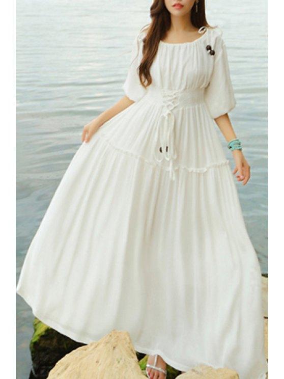 Ata para arriba con cuello redondo mitad Vestido largo de la manga - Blanco S