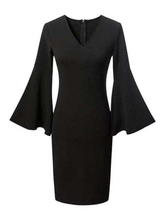 Equipado color sólido vestido de la manga de la llamarada del cuello V - Negro S