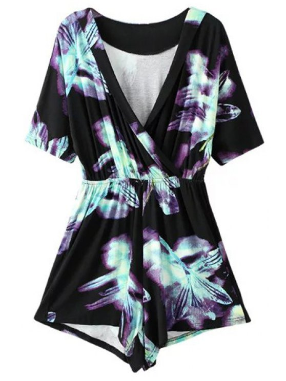 Ombre Printed Plunging Neck Short Sleeve Romper - BLACK S Mobile