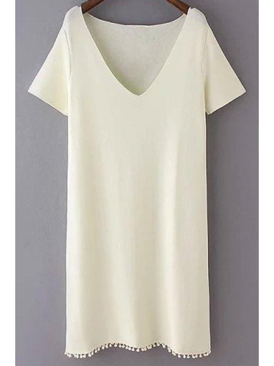Culot Solide Couleur Plongeant Neck robe à manches courtes - Blanc Cassé M