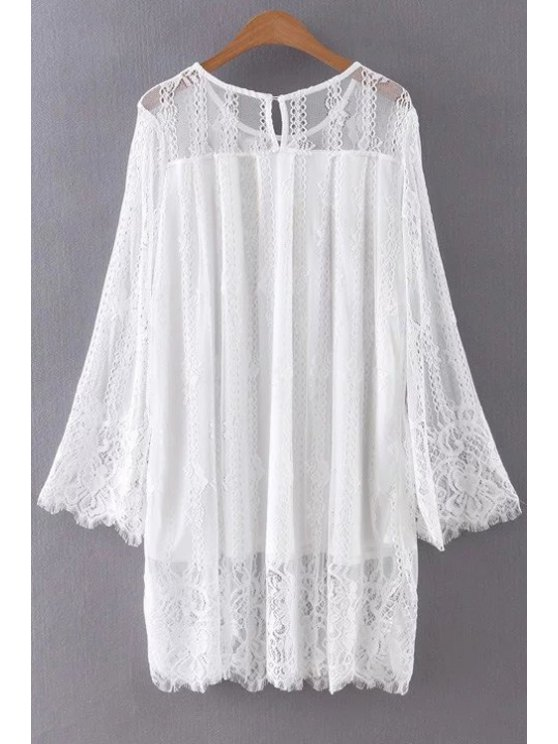 Hollow Out Long Sleeve Lace Dress - WHITE S Mobile
