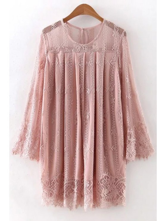 shop Hollow Out Long Sleeve Lace Dress - PINK L
