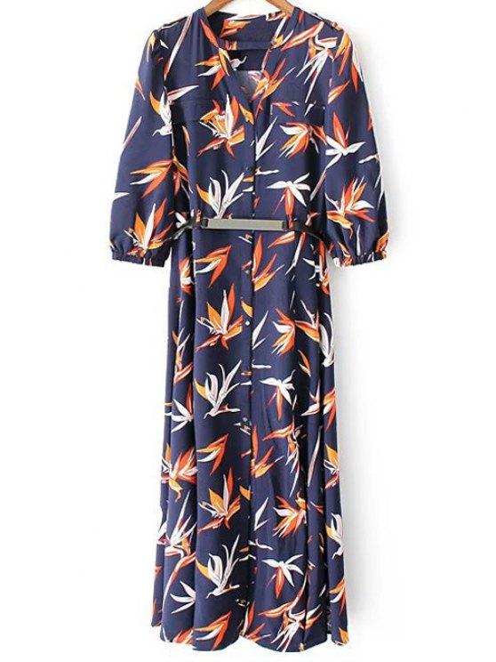 womens High Slit 3/4 Sleeve Floral Print Dress - DEEP BLUE M
