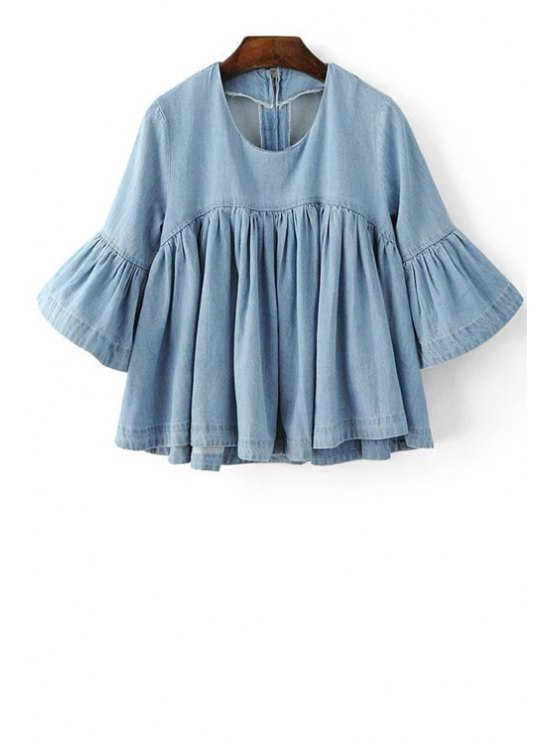outfit Flounce Ruffles Round Neck Flare Sleeve Denim Blouse - BLUE L