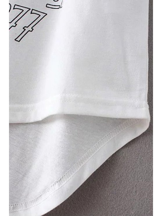 Angle Print Round Neck Short Sleeve T-Shirt - WHITE S Mobile