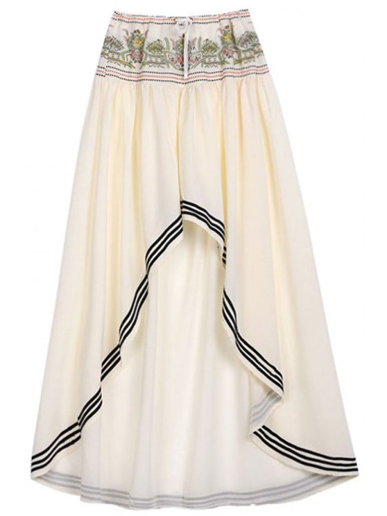 High Low Hem Drawstring Skirt - OFF-WHITE L Mobile