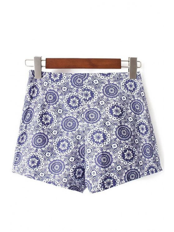 Ethnic Style Printed High Waist Shorts - BLUE XL Mobile
