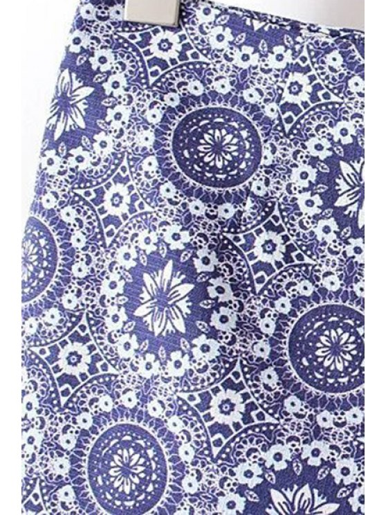 Ethnic Style Printed High Waist Shorts - BLUE 2XL Mobile