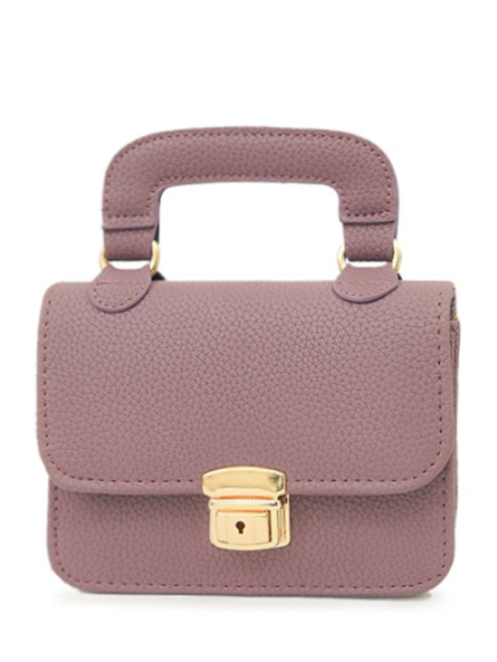 buy Chains Solid Color Push Lock Tote Bag - PURPLE