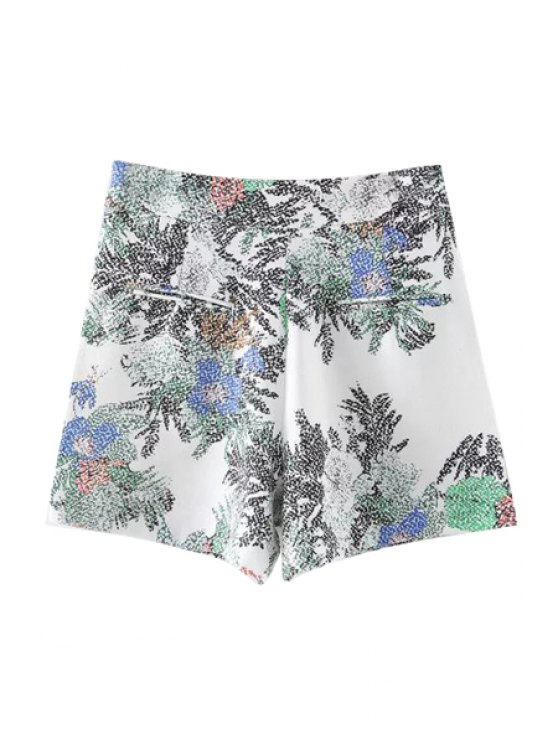 Printed Casual Pockets Shorts - WHITE L Mobile