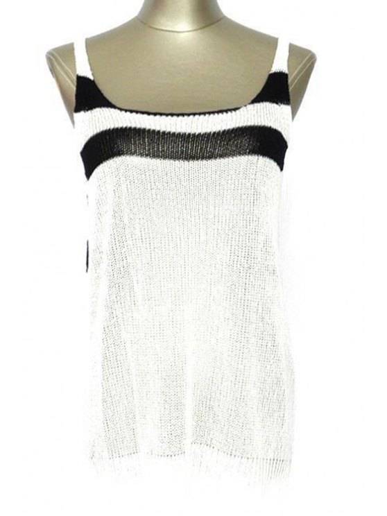 Striped Scoop Neck Cover Up - WHITE ONE SIZE(FIT SIZE XS TO M) Mobile
