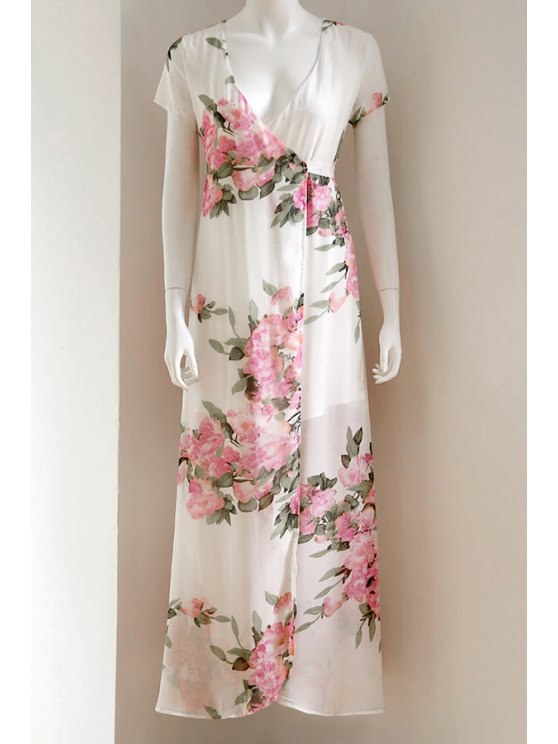 buy Floral Print Plunging Neck Short Sleeve Maxi Dress - WHITE M