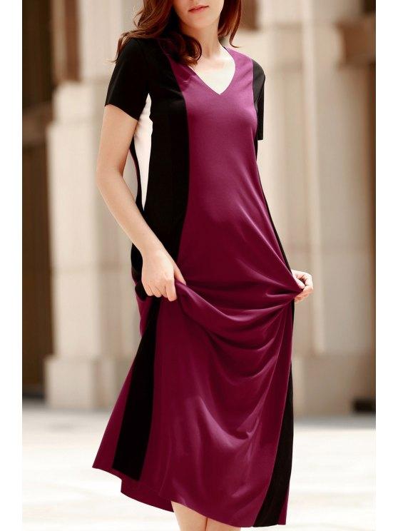 fashion Color Block V Neck Short Sleeve Maxi Dress - RED L