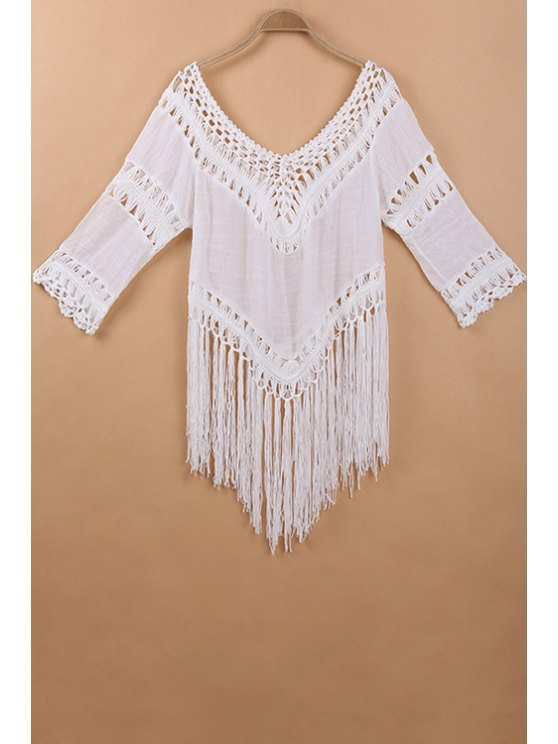 outfits Fringed Crochet V-Shaped Blouse - WHITE ONE SIZE(FIT SIZE XS TO M)