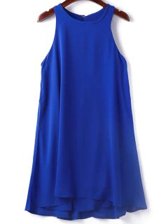 Solide Couleur Sans Manches Col Rond Robe - Bleu Saphir S