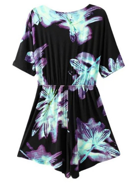 fancy Ombre Printed Plunging Neck Short Sleeve Romper - BLACK M Mobile