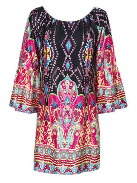 new Flare Sleeve Printed Peasant Dress - COLORMIX M Mobile