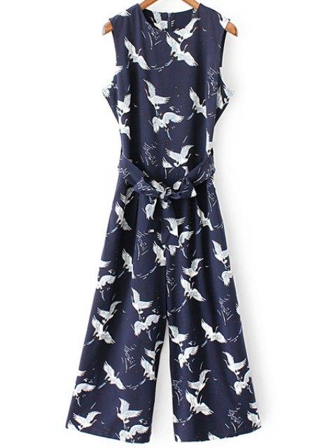 latest Printed Round Collar Sleeveless Belted Jumpsuit - PURPLISH BLUE XL Mobile