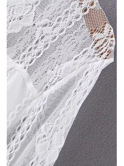 trendy Hollow Out Long Sleeve Lace Dress - WHITE L Mobile