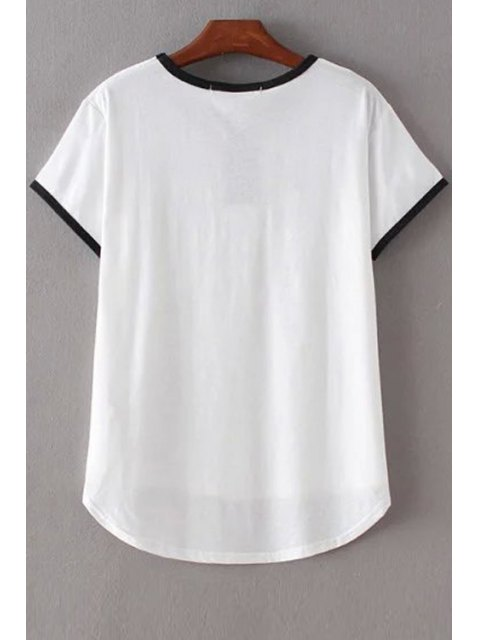 best Angle Print Round Neck Short Sleeve T-Shirt - WHITE S Mobile