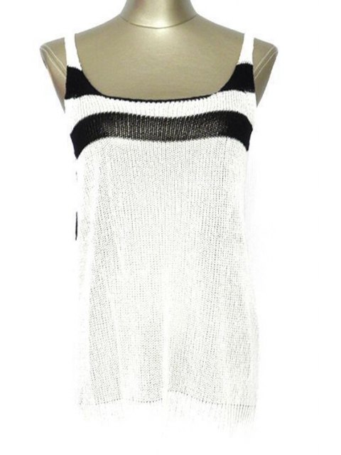 latest Striped Scoop Neck Cover Up - WHITE ONE SIZE(FIT SIZE XS TO M) Mobile