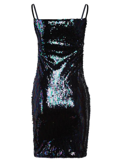 hot Colorful Sequined Spaghetti Straps Sleeveless Dress - BLACK ONE SIZE(FIT SIZE XS TO M) Mobile