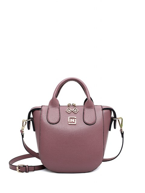 shop PU Leather Solid Color Tote Bag - PURPLE  Mobile
