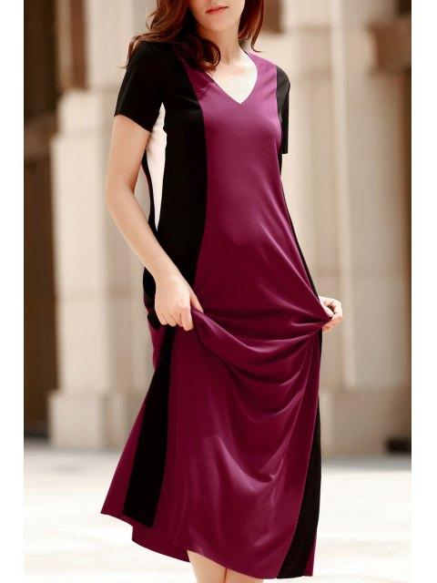 latest Color Block V Neck Short Sleeve Maxi Dress - RED S Mobile