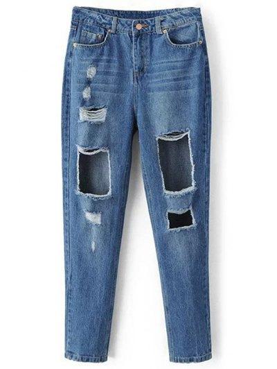 Broken Holoe Bleach Wash Mid-Waist Jeans - Blue M
