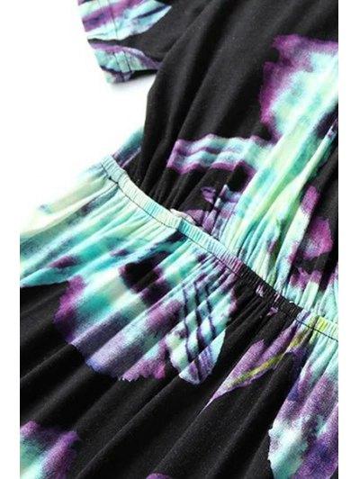 Ombre Printed Plunging Neck Short Sleeve Romper - BLACK M Mobile