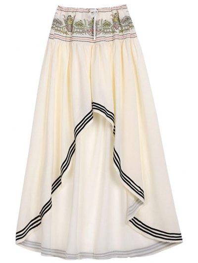 High Low Hem Drawstring Skirt - OFF-WHITE S Mobile