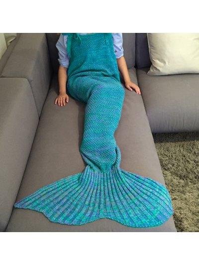 Knitted Mermaid Design Sleeping Bag Blanket - LAKE BLUE  Mobile