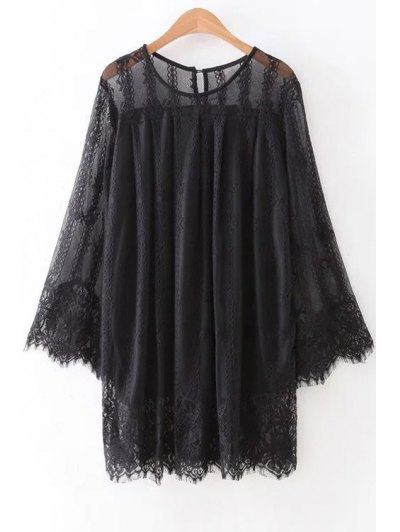 Hollow Out Long Sleeve Lace Dress - Black