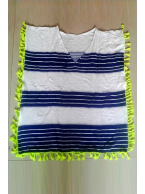 Striped V-Neck Sleeveless Cover Up - White