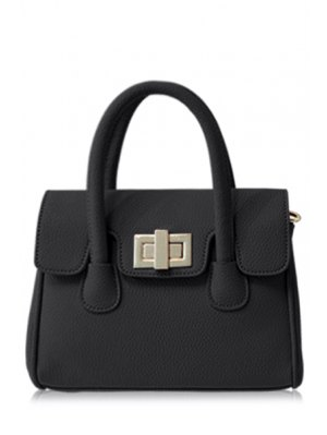 Solid Color Hasp PU Leather Tote Bag - Black