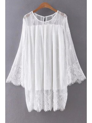 Hollow Out Long Sleeve Lace Dress - White