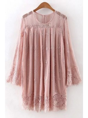 Hollow Out Long Sleeve Lace Dress - Pink