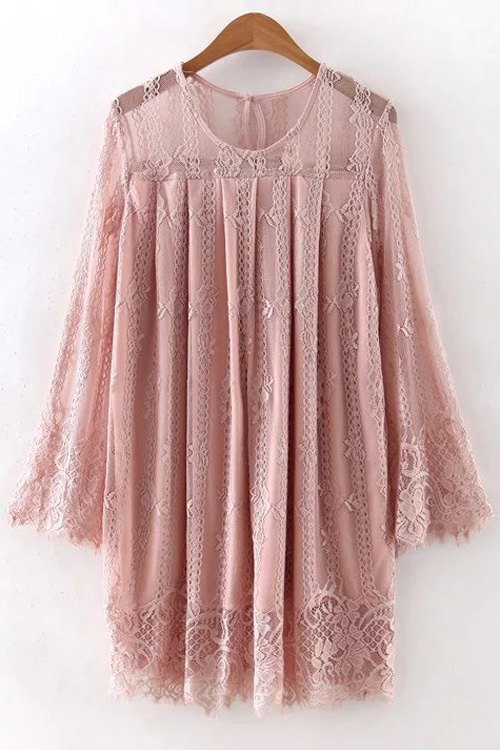 Round Neck Long Sleeve Hollow Out Lace Dress