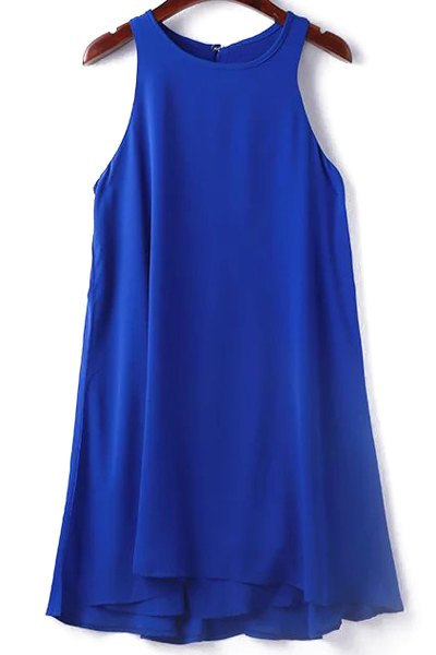 Round Collar Sleeveless Solid Color Dress