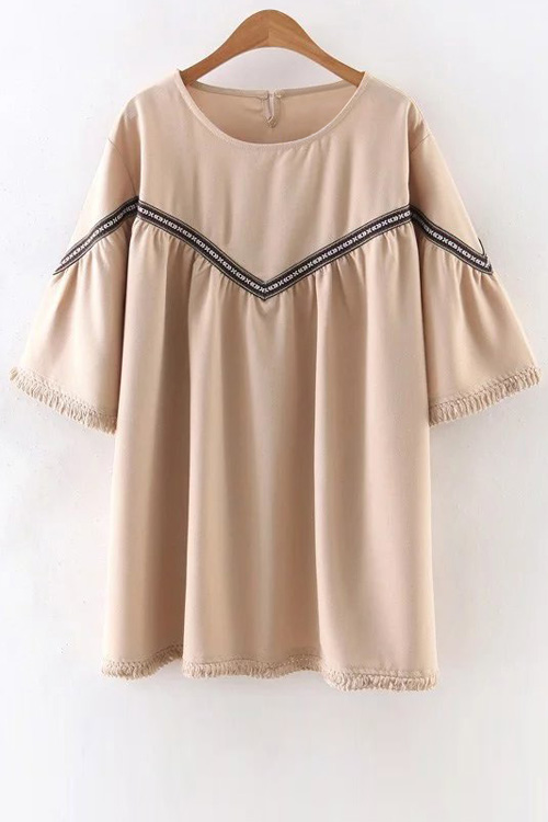 Embroidered Tassels Round Neck 3/4 Sleeve DressClothes<br><br><br>Size: M<br>Color: APRICOT