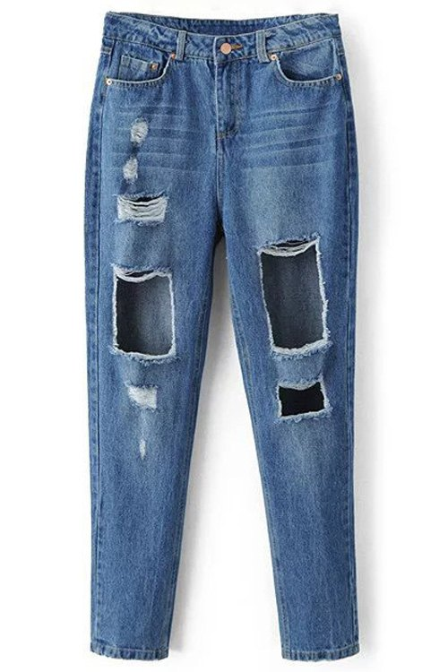 Mid-Waist Broken Holoe Bleach Wash Jeans